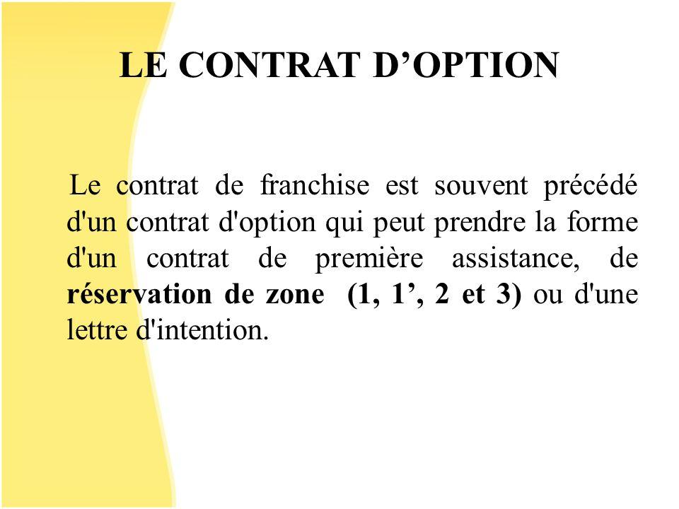 LE CONTRAT DOPTION Le contrat de franchise est souvent précédé d'un contrat d'option qui peut prendre la forme d'un contrat de première assistance, de