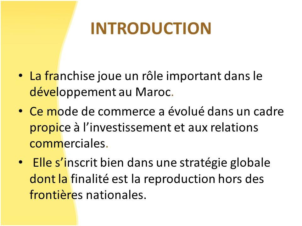 INTRODUCTION La franchise joue un rôle important dans le développement au Maroc. Ce mode de commerce a évolué dans un cadre propice à linvestissement