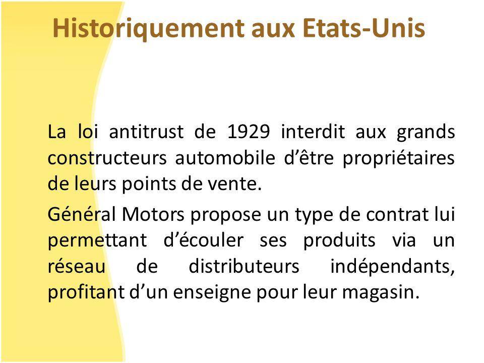 Historiquement aux Etats-Unis La loi antitrust de 1929 interdit aux grands constructeurs automobile dêtre propriétaires de leurs points de vente. Géné