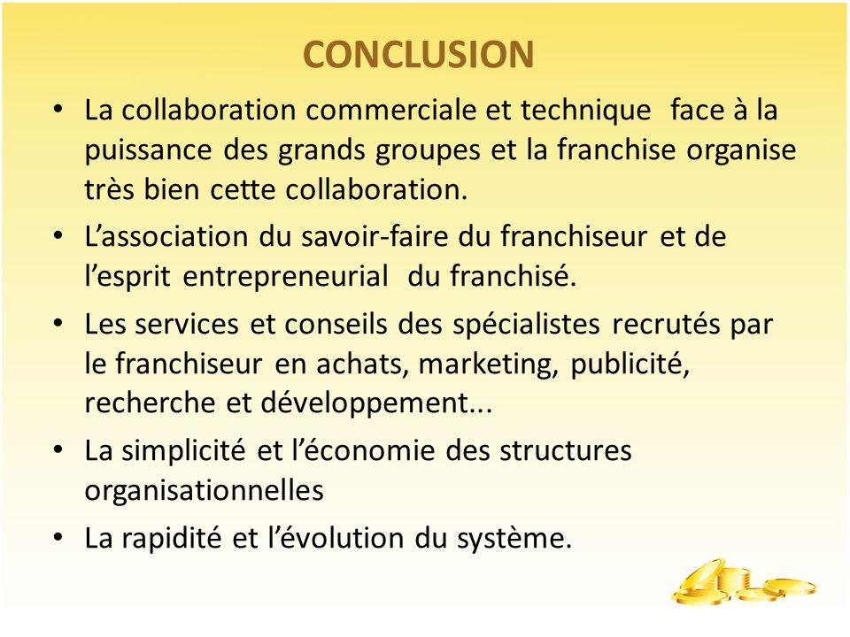 CONCLUSION La collaboration commerciale et technique face à la puissance des grands groupes et la franchise organise très bien cette collaboration. La