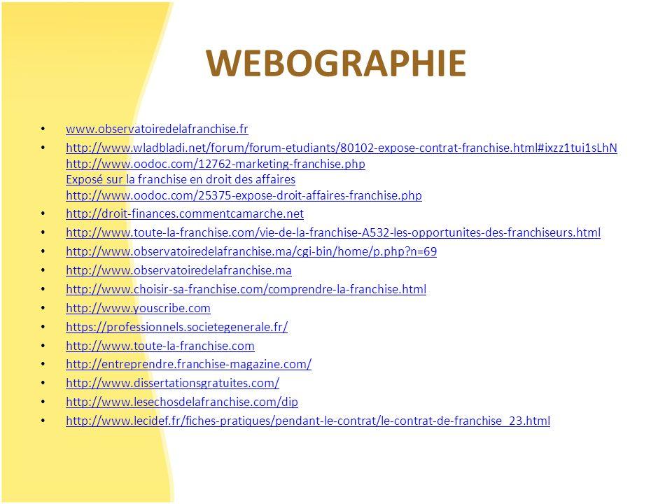WEBOGRAPHIE www.observatoiredelafranchise.fr http://www.wladbladi.net/forum/forum-etudiants/80102-expose-contrat-franchise.html#ixzz1tui1sLhN http://w