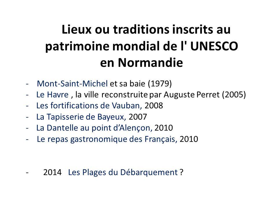 - Mont-Saint-Michel et sa baie (1979) -Le Havre, la ville reconstruite par Auguste Perret (2005) -Les fortifications de Vauban, 2008 -La Tapisserie de