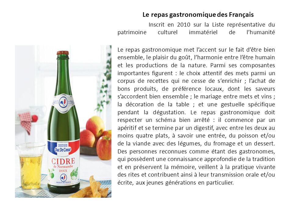 Le repas gastronomique des Français Inscrit en 2010 sur la Liste représentative du patrimoine culturel immatériel de lhumanité Le repas gastronomique