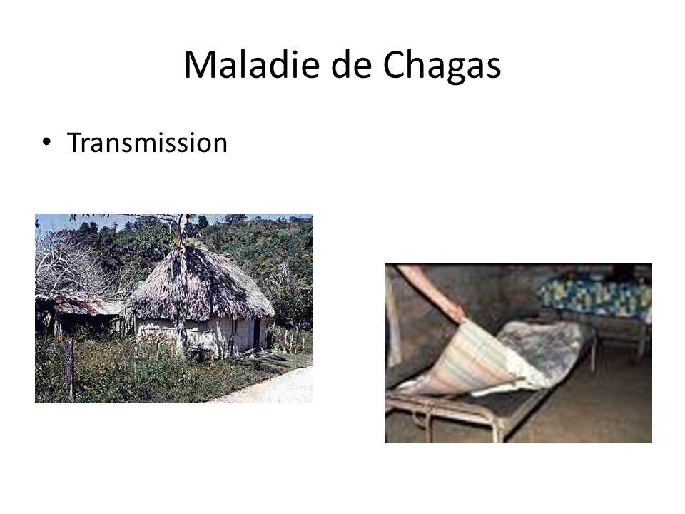 Maladie de Chagas Traitement benznidazole ou de nifurtimox efficaces à près de 100% si utilisés dès le début de la phase aiguë Traitement des complications