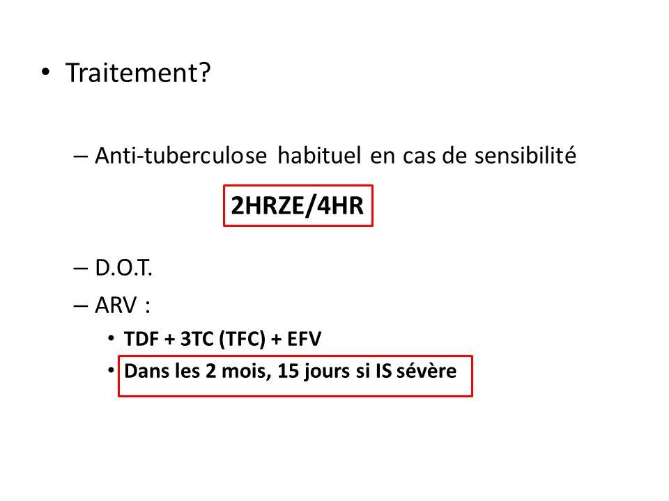 Traitement.– Anti-tuberculose habituel en cas de sensibilité – D.O.T.