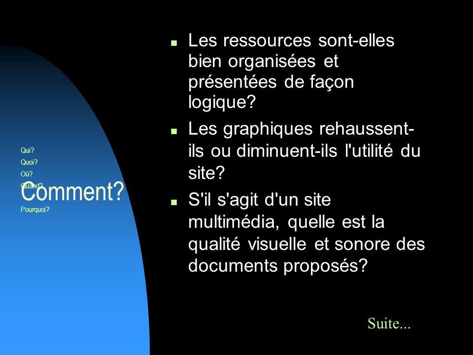 Les ressources sont-elles bien organisées et présentées de façon logique.