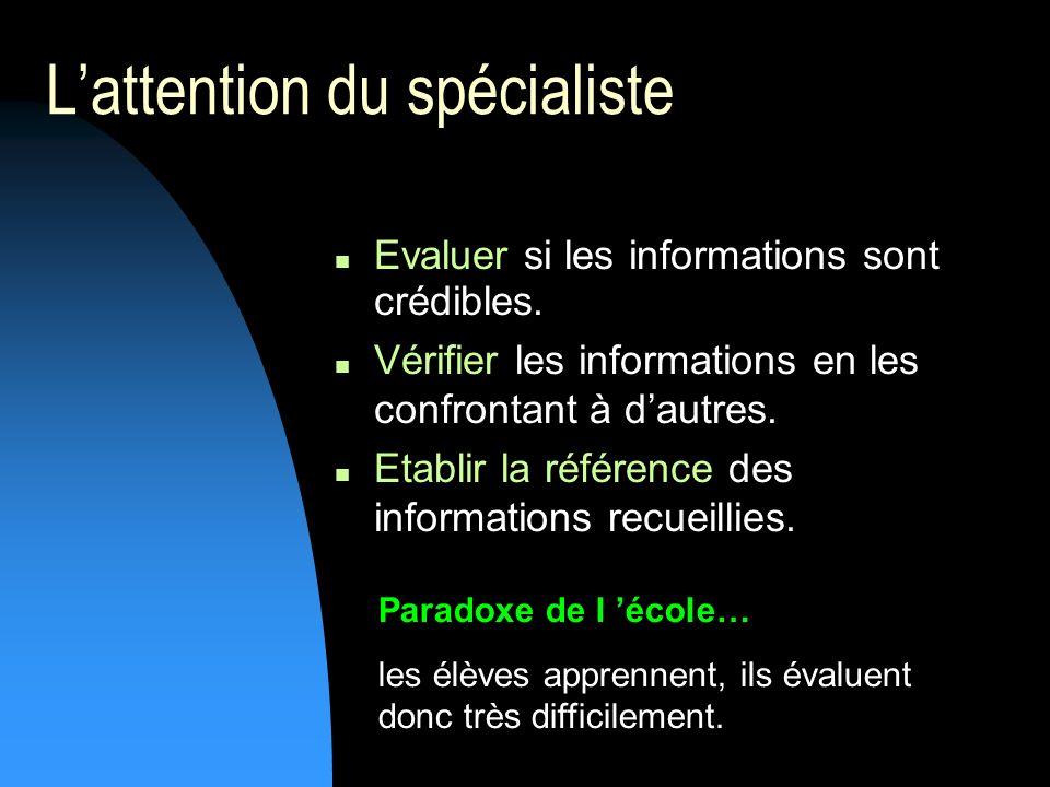 Lattention du spécialiste Evaluer si les informations sont crédibles.