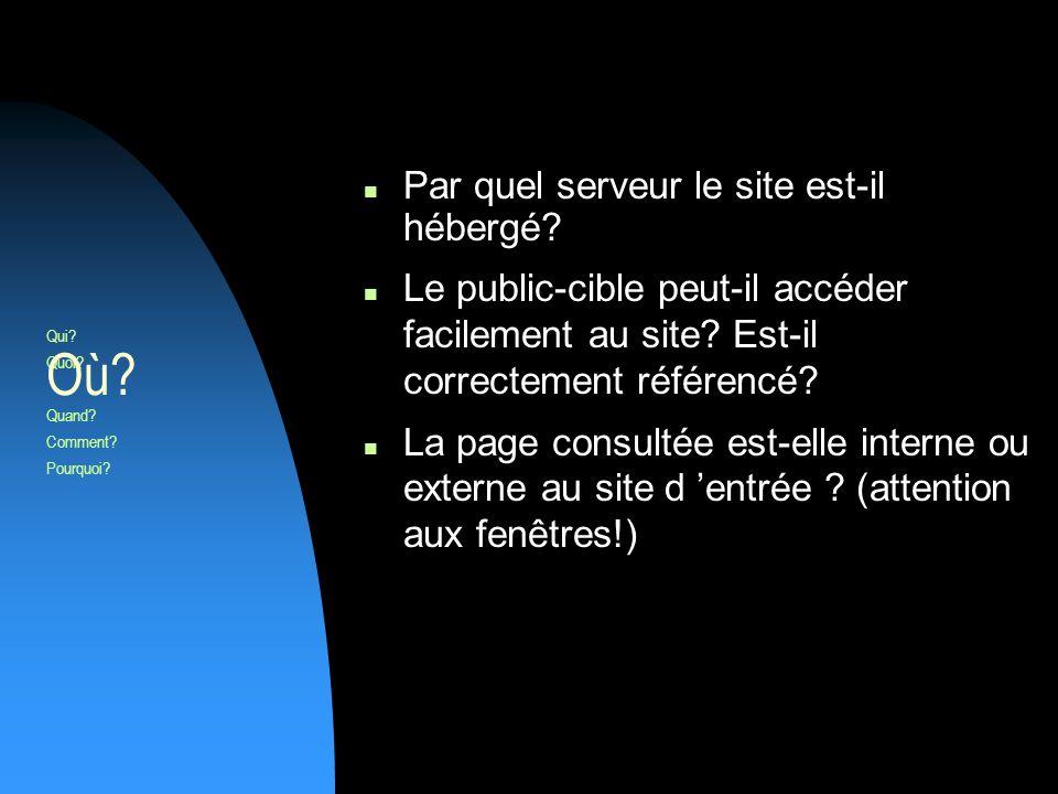 Par quel serveur le site est-il hébergé. Le public-cible peut-il accéder facilement au site.