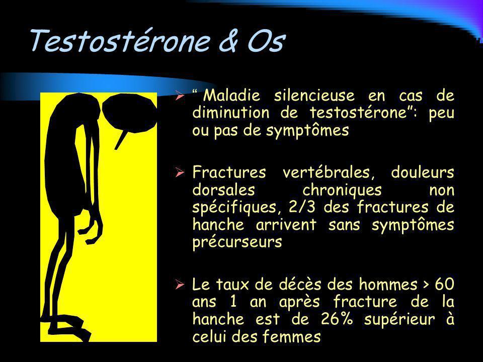 Testostérone & Os Maladie silencieuse en cas de diminution de testostérone: peu ou pas de symptômes Fractures vertébrales, douleurs dorsales chronique