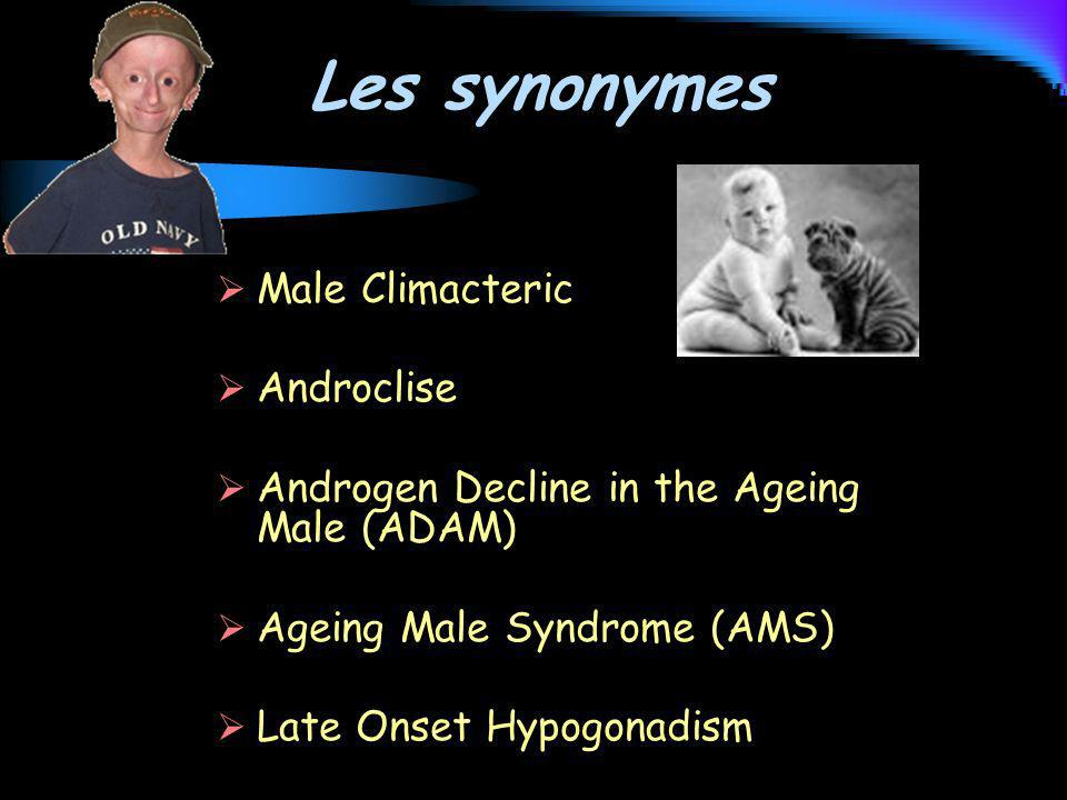 Les synonymes Male Climacteric Androclise Androgen Decline in the Ageing Male (ADAM) Ageing Male Syndrome (AMS) Late Onset Hypogonadism