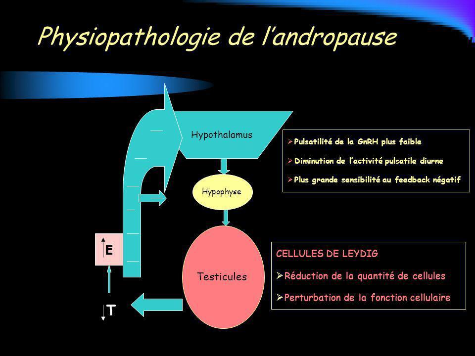 Physiopathologie de landropause Hypothalamus Hypophyse Testicules CELLULES DE LEYDIG Réduction de la quantité de cellules Perturbation de la fonction