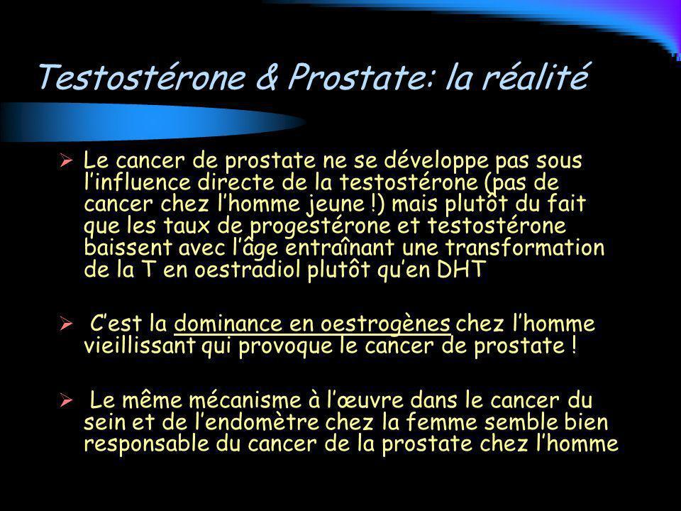 Testostérone & Prostate: la réalité Le cancer de prostate ne se développe pas sous linfluence directe de la testostérone (pas de cancer chez lhomme je