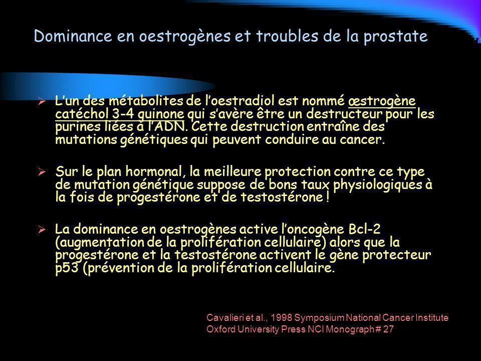 Dominance en oestrogènes et troubles de la prostate Lun des métabolites de loestradiol est nommé œstrogène catéchol 3-4 quinone qui savère être un des