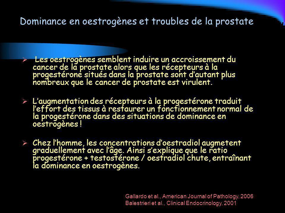 Dominance en oestrogènes et troubles de la prostate Les oestrogènes semblent induire un accroissement du cancer de la prostate alors que les récepteur
