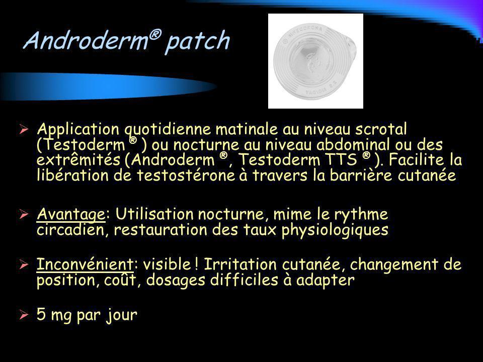 Androderm ® patch Application quotidienne matinale au niveau scrotal (Testoderm ® ) ou nocturne au niveau abdominal ou des extrêmités (Androderm ®, Te