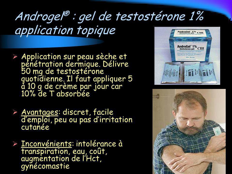 Androgel ® : gel de testostérone 1% application topique Application sur peau sèche et pénétration dermique. Délivre 50 mg de testostérone quotidienne.