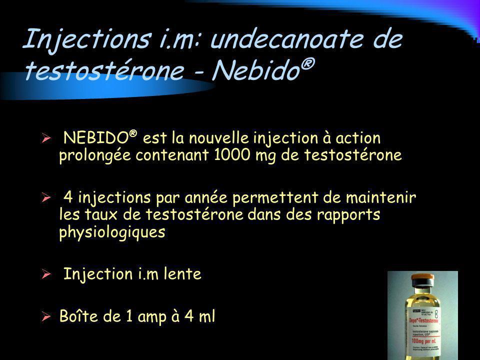 Injections i.m: undecanoate de testostérone - Nebido ® NEBIDO ® est la nouvelle injection à action prolongée contenant 1000 mg de testostérone 4 injec