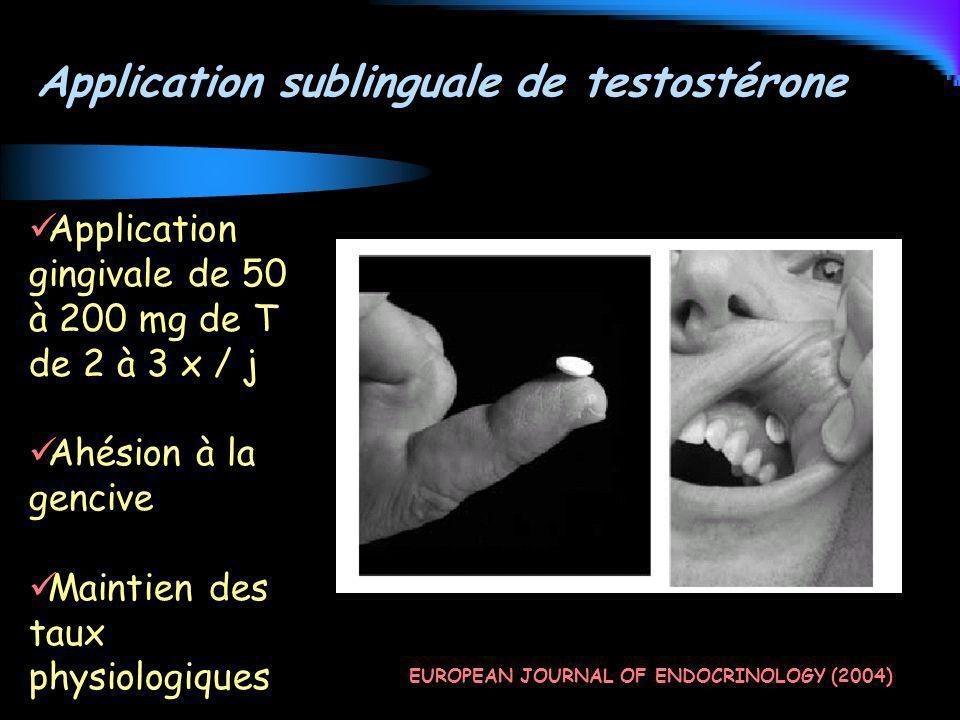 Application sublinguale de testostérone EUROPEAN JOURNAL OF ENDOCRINOLOGY (2004) Application gingivale de 50 à 200 mg de T de 2 à 3 x / j Ahésion à la