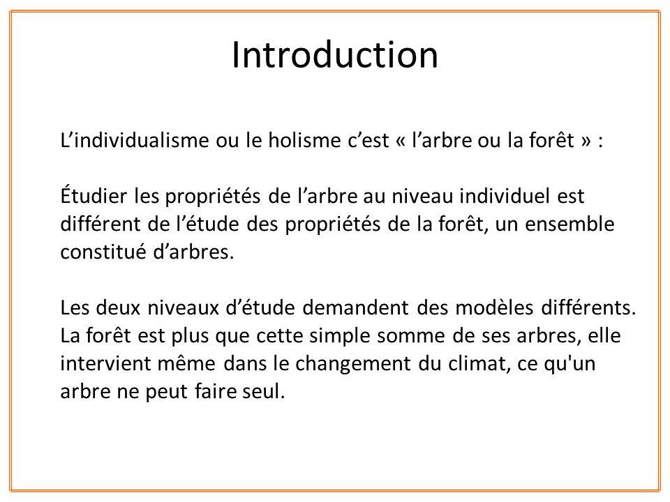 Lindividualisme ou le holisme cest « larbre ou la forêt » : Étudier les propriétés de larbre au niveau individuel est différent de létude des propriét
