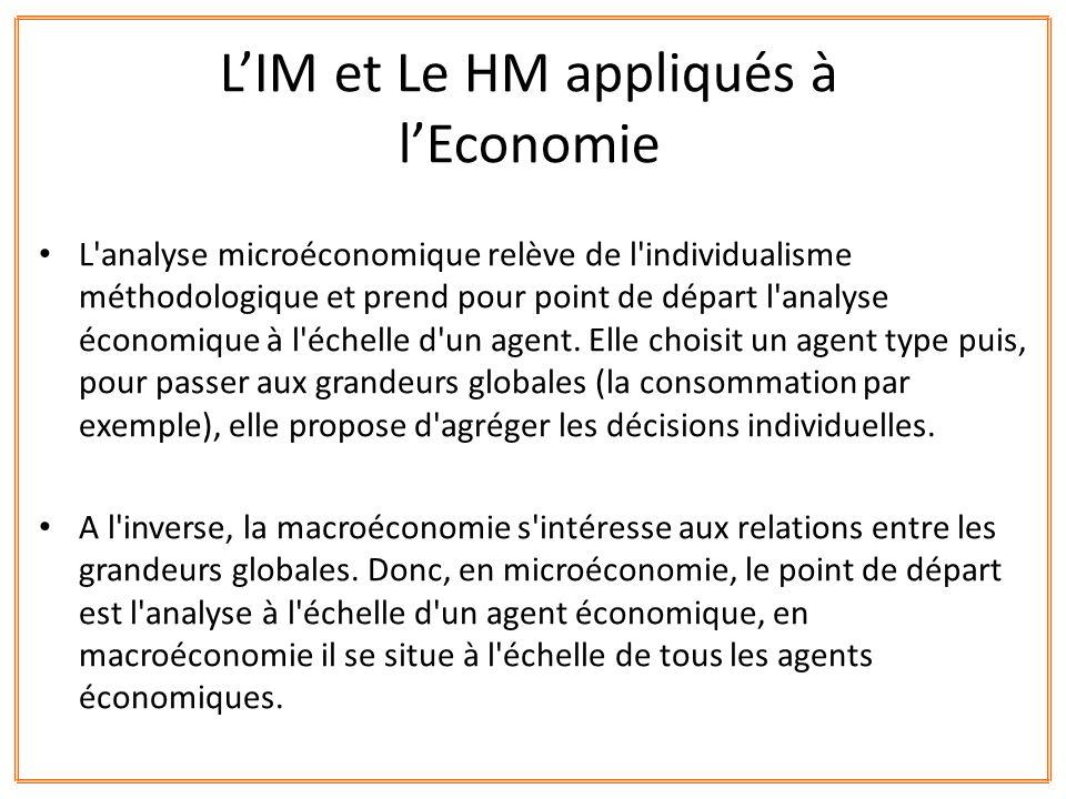 L'analyse microéconomique relève de l'individualisme méthodologique et prend pour point de départ l'analyse économique à l'échelle d'un agent. Elle ch