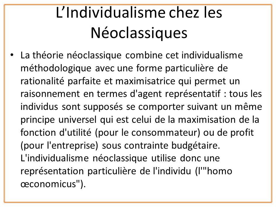 La théorie néoclassique combine cet individualisme méthodologique avec une forme particulière de rationalité parfaite et maximisatrice qui permet un r