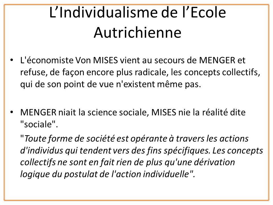 L'économiste Von MISES vient au secours de MENGER et refuse, de façon encore plus radicale, les concepts collectifs, qui de son point de vue n'existen
