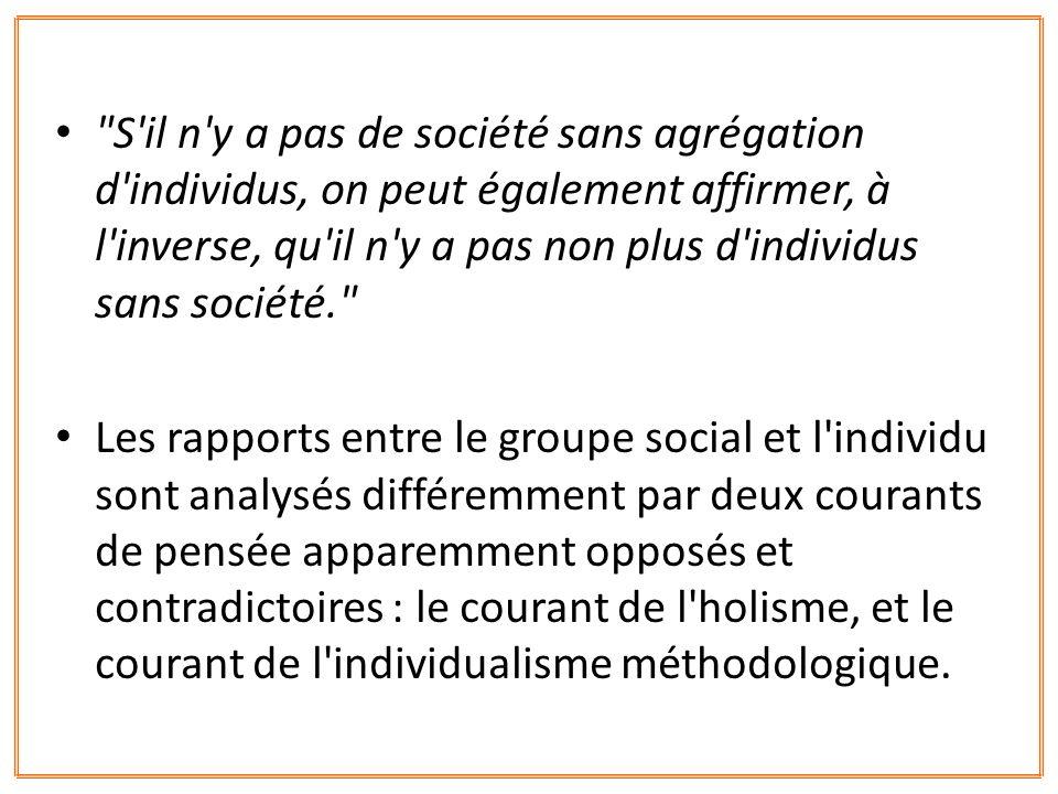 MENGER résout de façon très simple les relations de l individuel et du collectif: celui-ci n est que l agrégation de celui-là: L économie sociale...