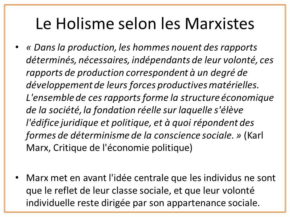 « Dans la production, les hommes nouent des rapports déterminés, nécessaires, indépendants de leur volonté, ces rapports de production correspondent à