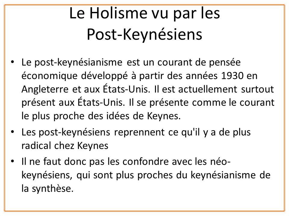 Le post-keynésianisme est un courant de pensée économique développé à partir des années 1930 en Angleterre et aux États-Unis. Il est actuellement surt