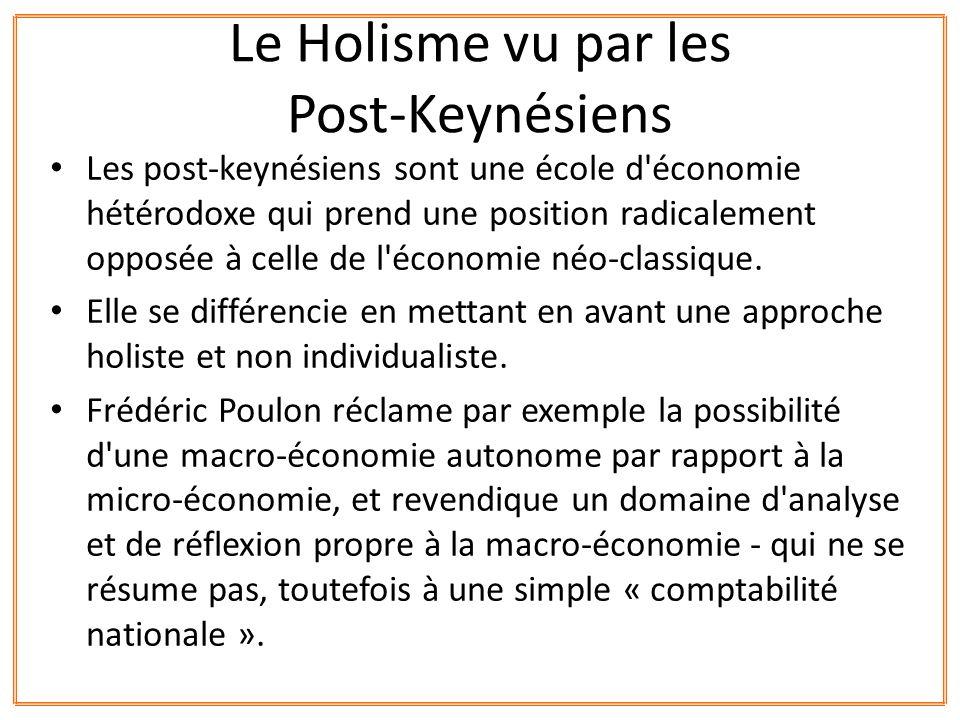Les post-keynésiens sont une école d'économie hétérodoxe qui prend une position radicalement opposée à celle de l'économie néo-classique. Elle se diff