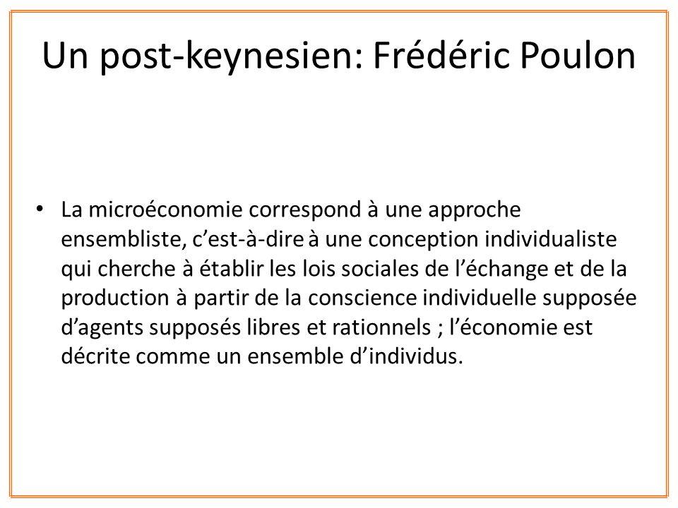 La microéconomie correspond à une approche ensembliste, cest-à-dire à une conception individualiste qui cherche à établir les lois sociales de léchang