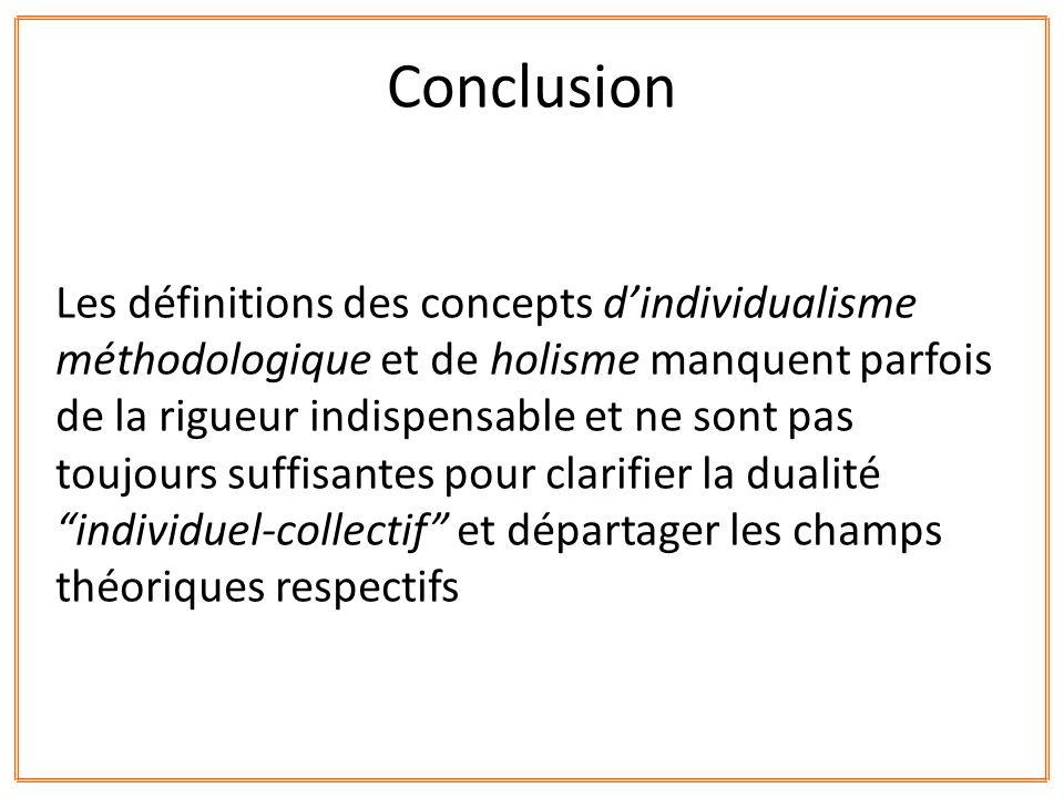 Les définitions des concepts dindividualisme méthodologique et de holisme manquent parfois de la rigueur indispensable et ne sont pas toujours suffisa