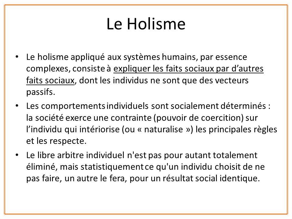 Le holisme appliqué aux systèmes humains, par essence complexes, consiste à expliquer les faits sociaux par dautres faits sociaux, dont les individus