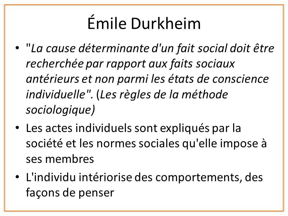 Lêtre humain est un être social = il est le « produit » de la société dans laquelle il est élevé et grandit » Émile Durkheim
