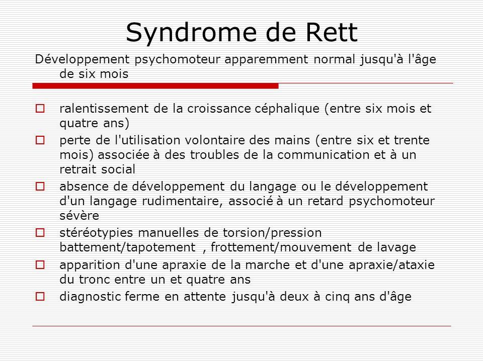 Syndrome de Rett Développement psychomoteur apparemment normal jusqu'à l'âge de six mois ralentissement de la croissance céphalique (entre six mois et