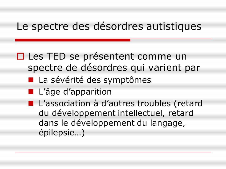 Le spectre des désordres autistiques Les TED se présentent comme un spectre de désordres qui varient par La sévérité des symptômes Lâge dapparition La