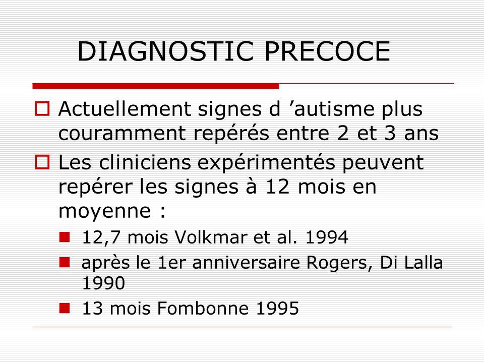 DIAGNOSTIC PRECOCE Actuellement signes d autisme plus couramment repérés entre 2 et 3 ans Les cliniciens expérimentés peuvent repérer les signes à 12