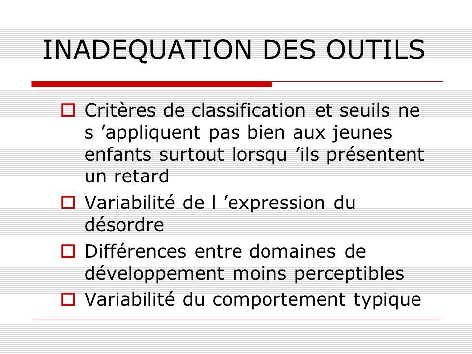 INADEQUATION DES OUTILS Critères de classification et seuils ne s appliquent pas bien aux jeunes enfants surtout lorsqu ils présentent un retard Varia