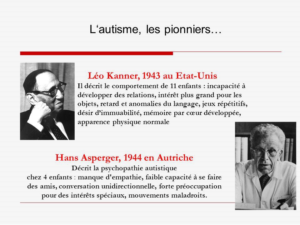 Léo Kanner, 1943 au Etat-Unis Hans Asperger, 1944 en Autriche Décrit la psychopathie autistique chez 4 enfants : manque d'empathie, faible capacité à