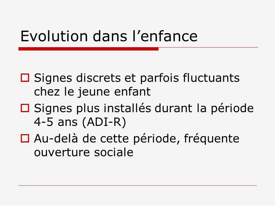 Evolution dans lenfance Signes discrets et parfois fluctuants chez le jeune enfant Signes plus installés durant la période 4-5 ans (ADI-R) Au-delà de