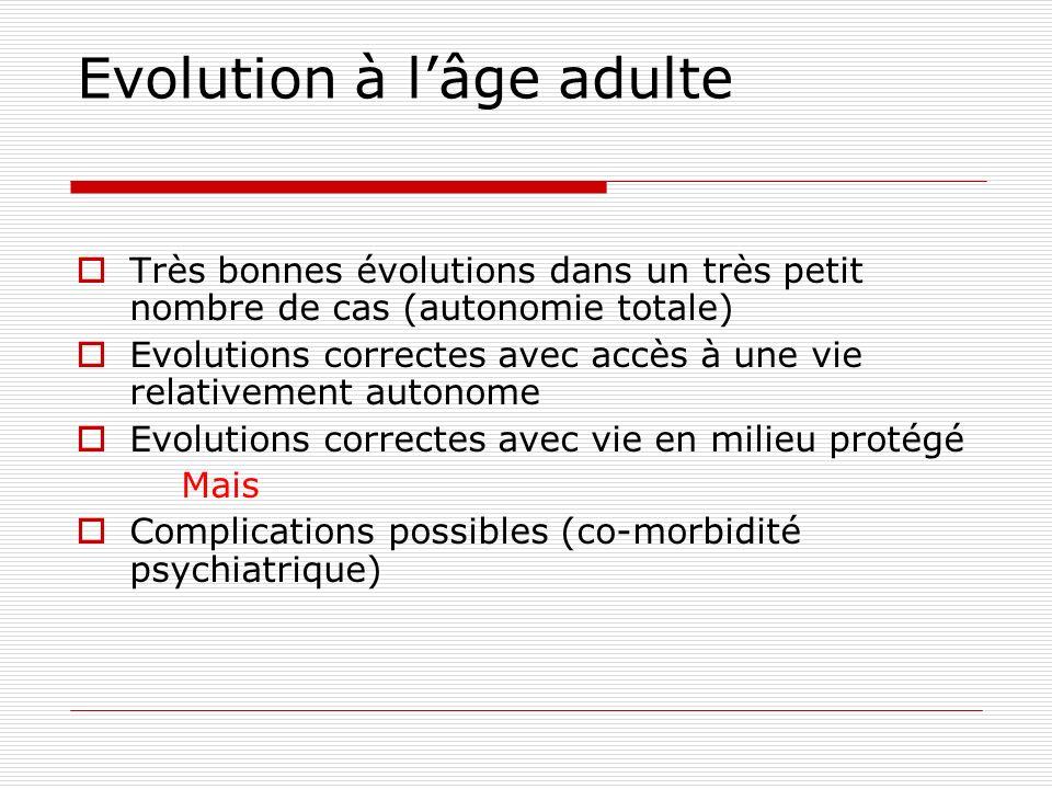 Evolution à lâge adulte Très bonnes évolutions dans un très petit nombre de cas (autonomie totale) Evolutions correctes avec accès à une vie relativem