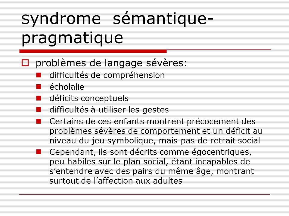 S yndrome sémantique- pragmatique problèmes de langage sévères: difficultés de compréhension écholalie déficits conceptuels difficultés à utiliser les