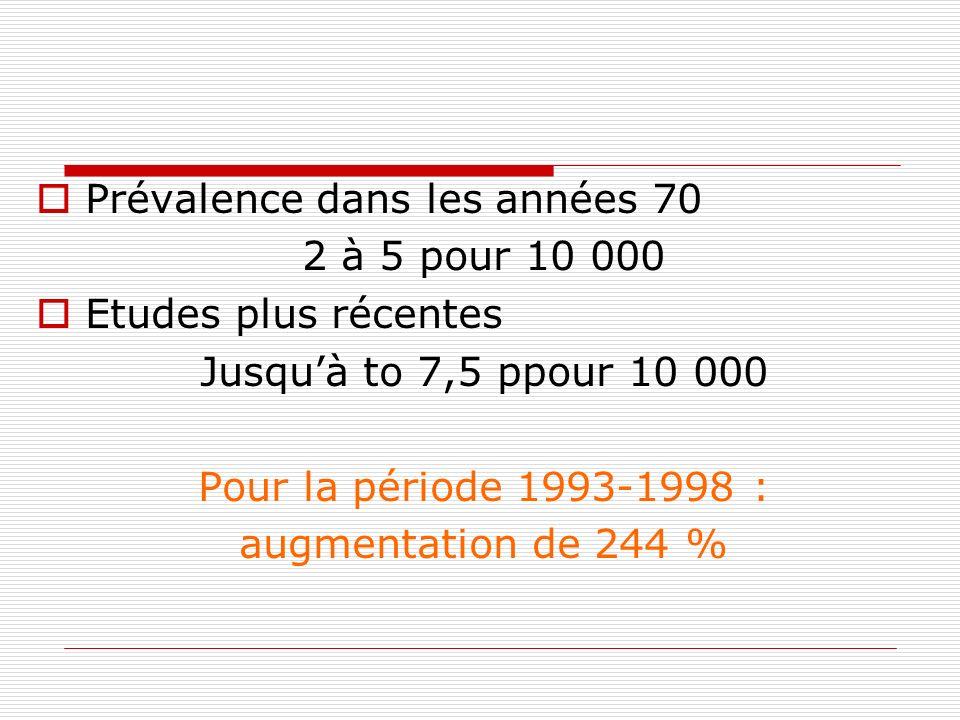 Prévalence dans les années 70 2 à 5 pour 10 000 Etudes plus récentes Jusquà to 7,5 ppour 10 000 Pour la période 1993-1998 : augmentation de 244 %