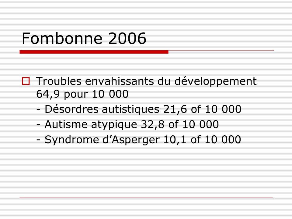 Fombonne 2006 Troubles envahissants du développement 64,9 pour 10 000 - Désordres autistiques 21,6 of 10 000 - Autisme atypique 32,8 of 10 000 - Syndr