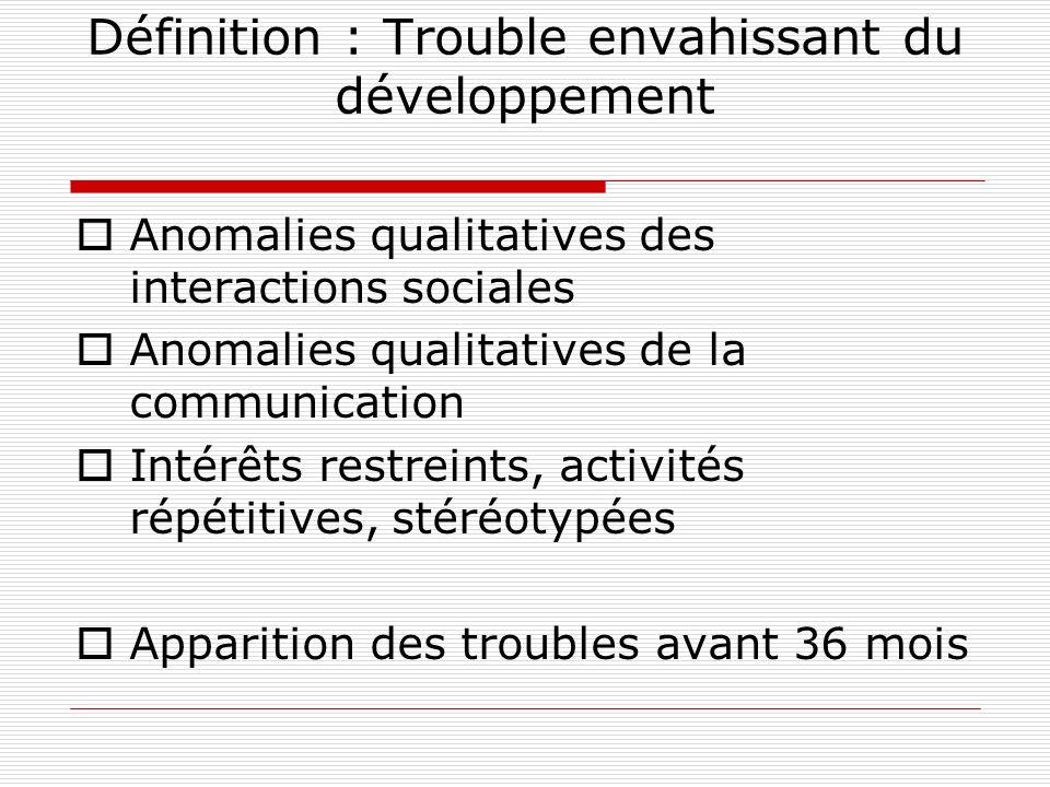 Définition : Trouble envahissant du développement Anomalies qualitatives des interactions sociales Anomalies qualitatives de la communication Intérêts