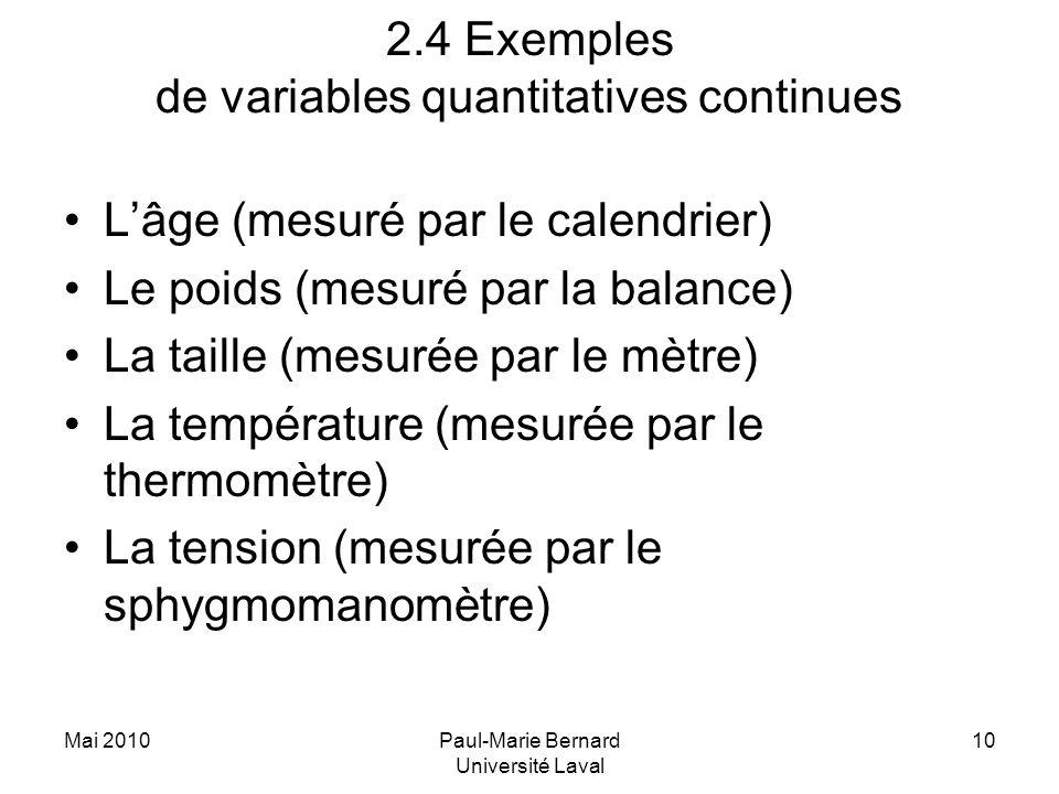 Mai 2010Paul-Marie Bernard Université Laval 10 2.4 Exemples de variables quantitatives continues Lâge (mesuré par le calendrier) Le poids (mesuré par