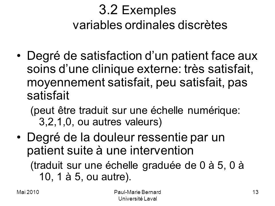 Mai 2010Paul-Marie Bernard Université Laval 13 3.2 Exemples variables ordinales discrètes Degré de satisfaction dun patient face aux soins dune cliniq