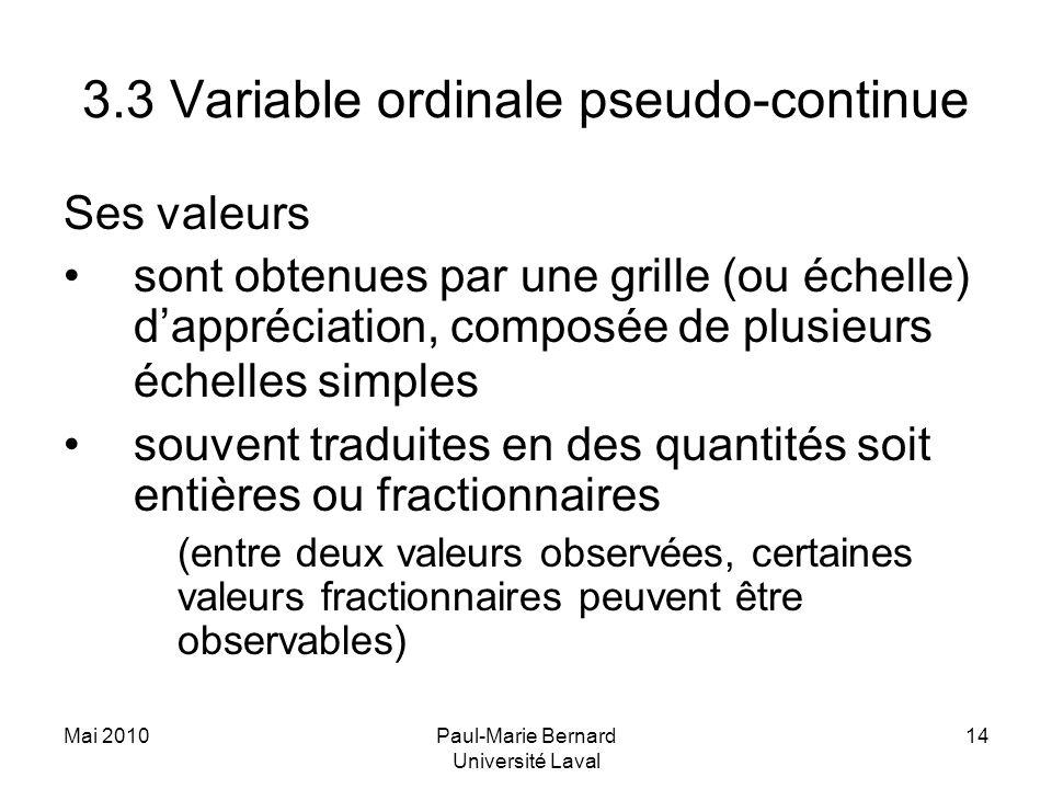 Mai 2010Paul-Marie Bernard Université Laval 14 3.3 Variable ordinale pseudo-continue Ses valeurs sont obtenues par une grille (ou échelle) dappréciati