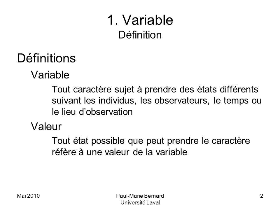 Mai 2010Paul-Marie Bernard Université Laval 2 1. Variable Définition Définitions Variable Tout caractère sujet à prendre des états différents suivant