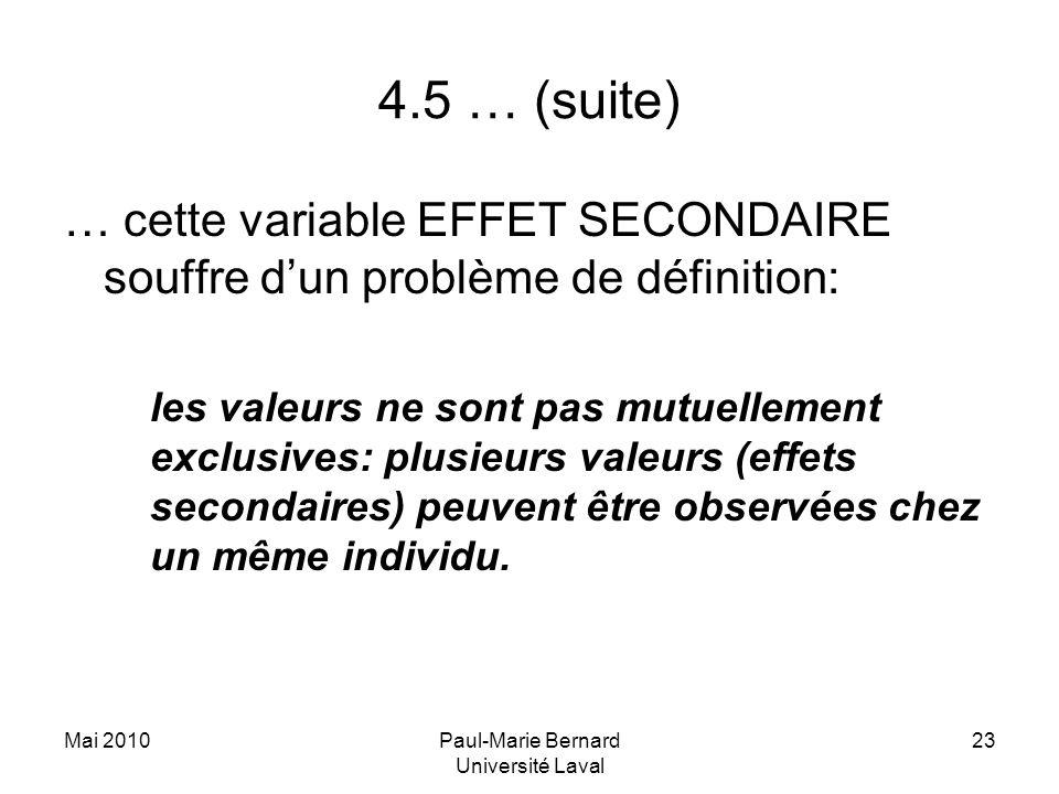 Mai 2010Paul-Marie Bernard Université Laval 23 4.5 … (suite) … cette variable EFFET SECONDAIRE souffre dun problème de définition: les valeurs ne sont